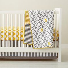 Baby Grey & Yellow Patterned Crib Bedding.