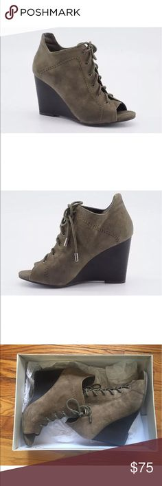 Jessica Simpson Lace up Wedge Peep-Toe Booties Jessica Simpson Constance Gray Suede Wedge Peep-Toe Booties size 6.5 Shoes Jessica Simpson Shoes Lace Up Boots