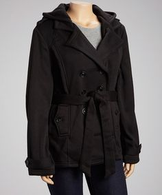 Take a look at this Black Soft Belted Peacoat - Plus by Yoki on #zulily today!