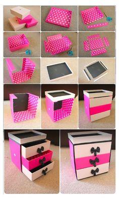 Diy Craft Projects, Diy Crafts For Home Decor, Diy House Projects, Craft Ideas, Decor Diy, Room Decorations, Diy Decorating, Diy Makeup Storage Box, Diy Storage Boxes