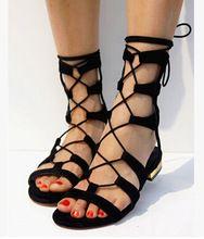 2015 gladiator frauen cool lässig ausschnitt kreuz riemen schnürung flachen sandalen Sommer flacher absatz weiblich plus size leder sandalen schuhe(China (Mainland))