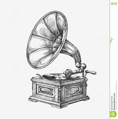 Illustration about Hand drawn vintage gramophone. Illustration of audio, musical, listen - 76570805 Tree Sketches, Drawing Sketches, Drawings, Music Sketch, Steampunk, Pine Tree Tattoo, Desenho Tattoo, Vintage Drawing, Free Vector Art