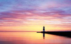 Great Lakes Lighthouses - Presque Isle North Pier Lighthouse on Lake Erie, Pennsylvania