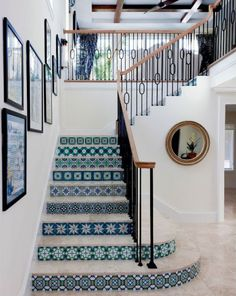 Turquoise and blue detailed tile work on the stairs