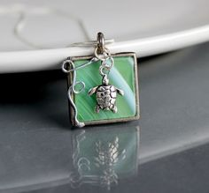 Where Turtles Play  Stained Glass Jewelry Necklace  by LAGlass, $19.50