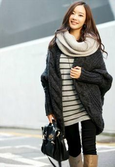 Stylish Dark Grey Loose Cardigan