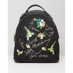 Love Moschino Forever Backpack (3.374.510 IDR) ❤ liked on Polyvore featuring bags, backpacks, multi, leather rucksack, day pack backpack, leather tote shopper, print backpacks and shopping bag
