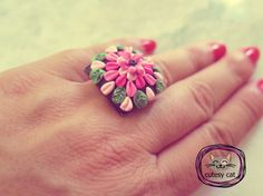 Handmade Polymer Clay Flower Ring with Embroidery/ Appliqué Technique