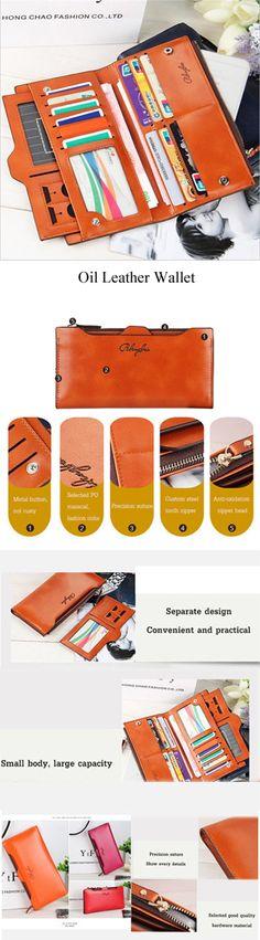 【$ 10.71】 Women Oil Leather Ultrathin Wallet Bright PU Leather Purse Wallet