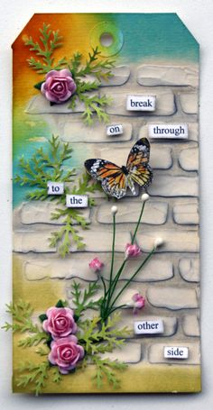 Have been playing around over the last few days with some texture paste and Pan Pastel as I wanted to incorporate these two mediums on my n. Atc Cards, Card Tags, Gift Tags, Texture Paste, Handmade Tags, Handmade Crafts, Butterfly Cards, Paper Tags, Artist Trading Cards
