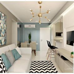 A Guide to Cute And Chic Living Room Design For Your Home - flipsyourhome Condo Interior Design, Studio Apartment Design, Condo Design, Apartment Interior, Small Apartment Design, Small Living Rooms, Home Living Room, Living Room Designs, Living Room Decor