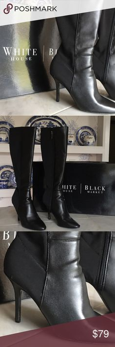 """NIB WHBM BLACK HIGH BOOTS 😎 These boots are gorgeous and NEW in the box! Size 7.5. Heel is approximately 3.5"""". Black on the black. Original box included. Comes from a smoke free home. Bundle & save! Perfect for holiday gift 🎁 White House Black Market Shoes Heeled Boots"""