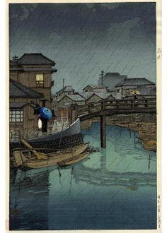 Kawase Hasui - La saison des pluies à Ryoshimachi, Shinagawa