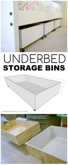 A DIY tutorial to build storage bins to fit under the bed. Make that underbed space functional with storage bins on wheels. A DIY tutorial to build storage bins to fit under the bed. Make that underbed space functional with storage bins on wheels.