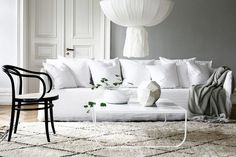 Living Space Decorated Among White Sofas Made From Fabric Material under Traditional Interior Design Decor, Home, Living Room Interior, Home And Living, Furniture, Living Room Sectional, Interior Design, House Interior, Home Deco