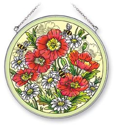 Amia Hand Painted Glass Suncatcher Featuring Bees, Poppies and Daisies, 6-1/2-Inch Circle by Amia. $22.00. Includes chain. Comes boxed, makes for a great gift as well. Handpainted glass. Enjoy this beautiful, handpainted glass suncatcher by Amia. Includes chain for hanging purposes.