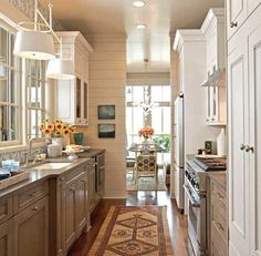galley two tone kitchen.  wish I could find the source.