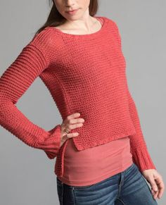 Free Knitting Pattern for Hanako Garter Pullover - Garter stitch long sleeved sweater with high low split hem. XS (S, M, L, XL). Worsted weight yarn on larger needles for more drape. Designed byTian Foley forClassic Elite Yarns