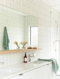 Great bathroom mirror with shelf. Modern beach house bathroom in white and light wood. Stylish Bathroom, Diy Bathroom Decor, Bathroom Inspiration, French Country Bathroom, Bathroom Mirror With Shelf, Elegant Bathroom, Laundry In Bathroom, Bathroom Design, Bathroom