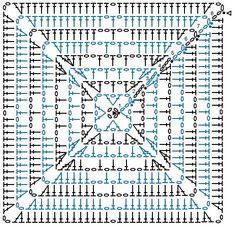 Crochet Motif Patterns, Crochet Blocks, Granny Square Crochet Pattern, Crochet Diagram, Crochet Chart, Crochet Squares, Crochet Granny, Knit Crochet, Motifs Granny Square