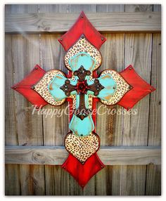 X-Large Wall CROSS - Antiqued Red & Turquoise with Leopard, iron cross, and red iron rose by happygoose on Etsy https://www.etsy.com/listing/187089520/x-large-wall-cross-antiqued-red