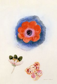 """Odilon Redon """"Study of Flowers and Butterfly"""""""