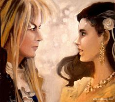 This original Painting Portraiture of Jareth and Sara is on Birch panel, and painted with oils. Labyrinth Portraiture in Oils Jim Henson Labyrinth, Labyrinth 1986, Lily Fox, Labyrinth Tattoo, Sarah And Jareth, Christina Rossetti, Goblin King, Fantasy Movies, Artist Names
