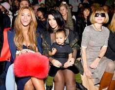 Beyonce, Kim Kardashian and daughter North West sat front row with Anna Wintour at Kanye West's Adidas show during New York Fashion Week