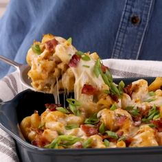 Unlike most healthy casseroles, this dish features plenty of gooey cheese and a sprinkle of bacon. Butternut squash, pasta, and mushrooms make this healthy casserole stand out. #recipes #recipeideas #casserole #casserolerecipes #healthy #healthycasserole #bhg