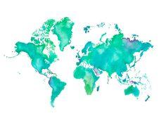 5x7  World Map Print by poppyandpinecone on Etsy, $12.00