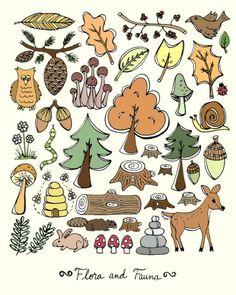 Green Woodland Illustration 8 x 10 Art Print  by blockpartyprints