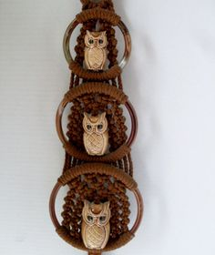 Vintage Macrame Owl Wall Hanging Brown 3 Owls door TheOwlLady, $45.00