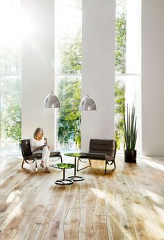 Love these floors! Bole live edge Ash natural 'softening' the lines of a living space