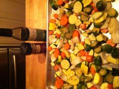 Roasted veggies-cut up your favorite veggies, I used yellow squash, zucchini, onions, brussel sprouts, carrots. Drizzled with Wildfire Grapeseed Oil infused with garlic, and sprinkled Tastefully Simple Pesto mix, salt  and pepper. Put in a 375 degree oven till tender but still had a slight crunch. -(I did for about 35 minutes)
