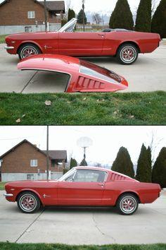 Mustang fiberglass fastback roof for convertible