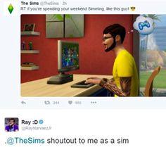 Ray as a sim, tweets. Nice tattoos!