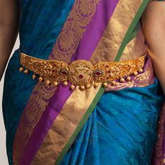 Check out some stunning South Indian bridal vadanam designs from a popular brand called Tarinika. Indian Jewellery Online, Indian Jewelry, Vaddanam Designs, Bridal Silk Saree, Gold Jewellery Design, Gold Jewelry, Gold Necklace, Orange Earrings, Filigree Earrings