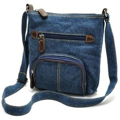 Micom Women Blue Denim Shoulder Bag Small Jean Purse Pouch Crossbody... (21 CAD) ❤ liked on Polyvore featuring bags, handbags, shoulder bags, denim shoulder handbags, handbags purses, man shoulder bag, blue handbags and crossbody pouch