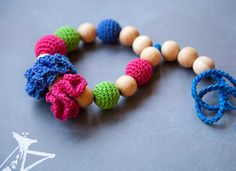 Teething toy with crochet wooden beads and flowers by bysiki, $16.00