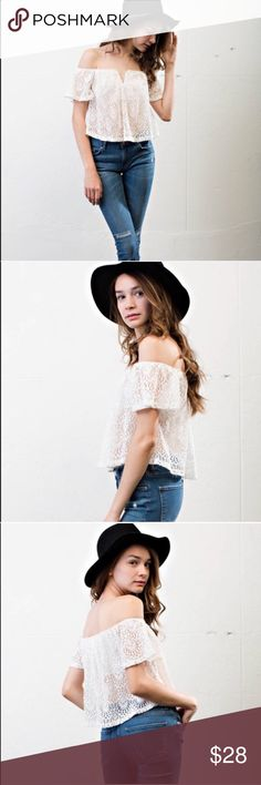 Off The Shoulder Lace Overlay Top d e s c r i p t i o n  This gorgeous boho piece from April Spirit is a must have for any free spirit! Beautiful lace overlay and an off the shoulder design. NO TRADES.  c o n t e n t  76% cotton | 21% polyester | 3% spandex  m e a s u r e m e n t s ✂️  size + L    p a i r e  w i t h 🌙  + striped maxi skirt 💵 bundle for a discount April Spirit Tops