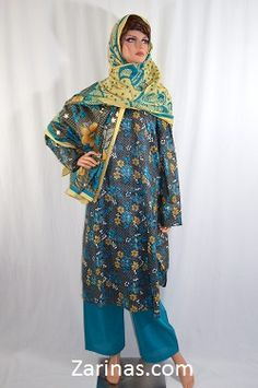Habibah Women's Perahan Tunbaan.  Stylish and comfortable women's style salwar kameez, or perahan tunbaan. Made from a soft, light weight, and floral fabric. The style fits loosely, making it a modest, knee length style. Comes with matching pants and head scarf. Typically worn by Muslim women in Afghanistan, Pakistan, and other countries in South East Asia. Available in only one size: Extra Large. Color: Blue  Price: $39.99 Product ID: 27AUG14HABIBAH