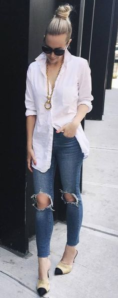 trendy casual style outfit: white shirt + ripped jeans + heels