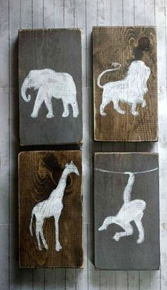 Lion Giraffe and Monkey Elephant Wall Decor Set, Tribal Woodland Decor, Nursery…
