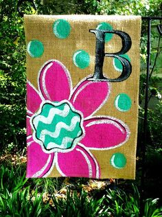 Handmade item Materials: burlap, exterior house paint Made to order Add a rustic artsy touch to your entry this year! This burlap garden flag fits a standard ga