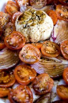 Roast garlic & cherry tomato pasta