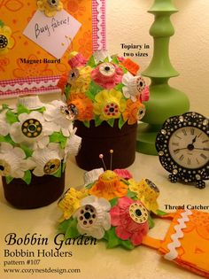 Bobbin Garden Bobbin Keepers  Paper Sewing by CozyNestDesign, $8.99