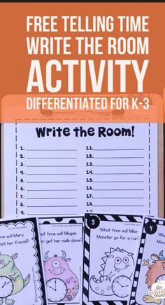 """alt=""Free telling ti""/></br></br>Get this free telling time activity for kids in kindergarten, first, second, and third grade! Love how these write the room cards are differentiated! Telling Time Activities, Teaching Time, Free Teaching Resources, Phonics Activities, Teaching Writing, Teaching Kindergarten, Math Games, Preschool, 2nd Grade Writing"