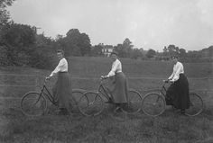 """1890s: Bicycles were an instrument of feminism, increasing women's mobility and agency, and began to redefine Victorian ideas about femininity. Bikes were popular with many women in the suffrage movement, and helped to stoke dress reform movements and push for fashions more suitable for physical activities. To counter this came a backlash from male authorities, including a claim from doctors that cycling could cause a condition called """"bicycle face""""... [Click for article]"""