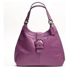 Coach Soho Leather Lynn Large Hobo Tote Handbag Purse 17092 Berry