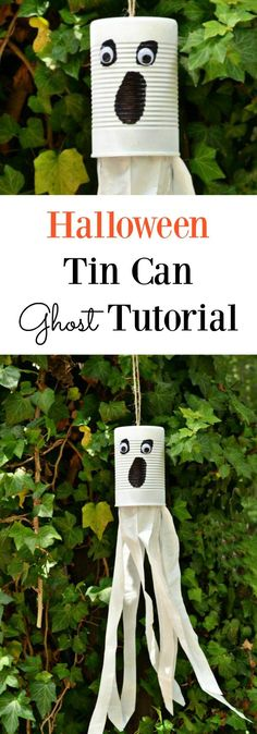 Cute and Simple Halloween Tin Can Ghost Tutorial. The perfect Halloween decor for people who don't like to craft and it's super affordable Halloween decor! Let the kids make these to decorate your yard before Halloween! Halloween crafts kids can make. Che